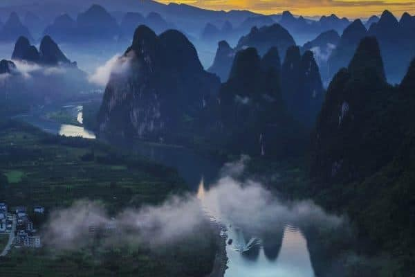 viewing the li river from mountain top