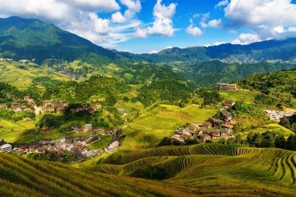 autumn view over the valley of dazhai village