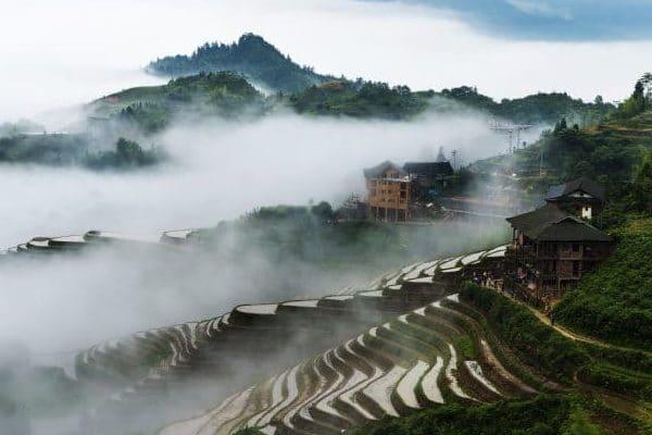 guzhuang zhai village in morning fog