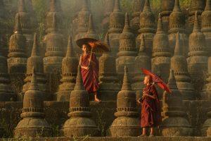 Temple Monks in Mrauk-u Myanmar