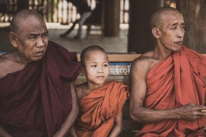 monks-and-a-novice-in-yangon